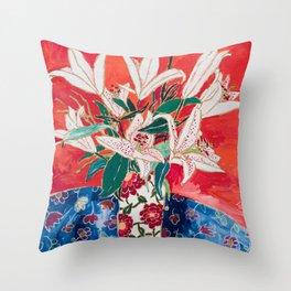 Blush Lily Bouquet on Orange Throw Pillow