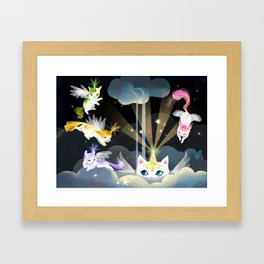 Enchanted Caticorn Cloud Framed Art Print