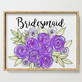 Bridesmaid Wedding Bridal Purple Violet Lavender Roses Watercolor Serving Tray
