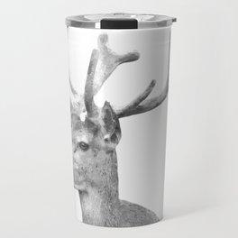 Black and white deer animal portrait Travel Mug