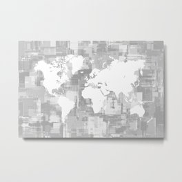 Design 71 Grayscale World Map Metal Print
