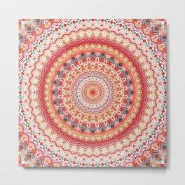 Oriental Sun Mandala Metal Print