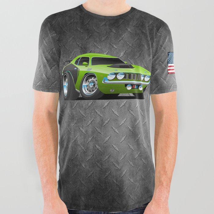 Classic_Seventies_Style_American_Muscle_Car_Cartoon_All_Over_Graphic_Tee_by_hobrath___Large