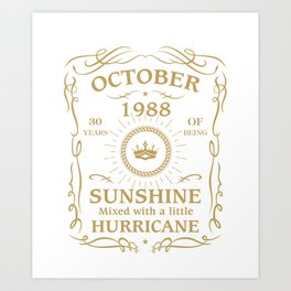 October 1988 Sunshine mixed Hurricane Art Print