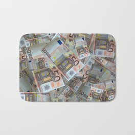 Piles of 50 Euro notes Bath Mat