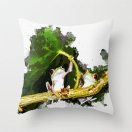 Two Frogs Under a Leaf Throw Pillow