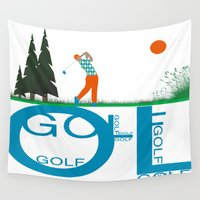 golf Wall Tapestries featuring Golf, golf, golf! by South43