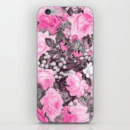 Floral pink vintage pattern iPhone Skin
