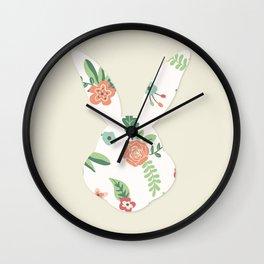 Head Rabbit Rose Wall Clock
