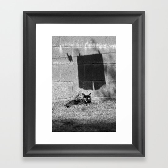 The cat and the pants Framed Art Print