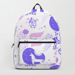 Modern abstract lavender pink geometric unicorn stars typography Backpack