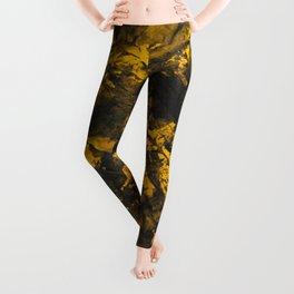 Black Ink on Yellow Background Leggings
