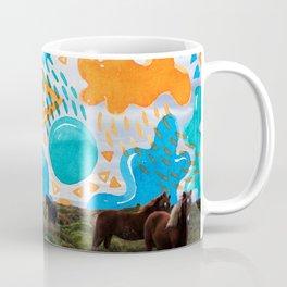 Wild Horses // Collage Horses + Creatve Pattern #society6 #art #prints Coffee Mug