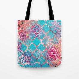 Mixed Media Layered Patterns - Turquoise, Pink & Coral Tote Bag