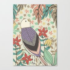 Bird and Autumn Leaves Canvas Print