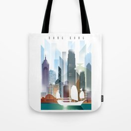 The city skyline of Hong Kong Tote Bag