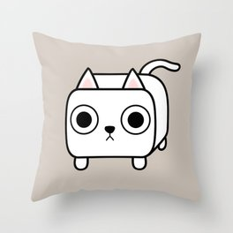 Cat Loaf - White Kitty Throw Pillow