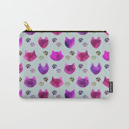 Watercolor Cat Heads - shades of pink & purple on pale blue  Carry-All Pouch