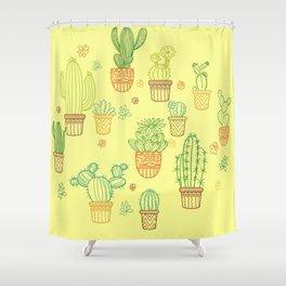 cheerful yellow cactus Shower Curtain