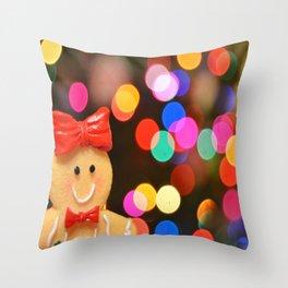 Gingerbread Bokeh Throw Pillow