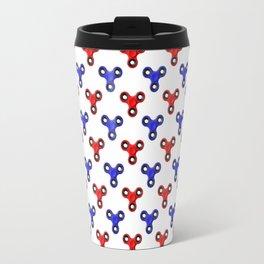 Finger Spinner Polka Dot Red and Blue Pattern Travel Mug