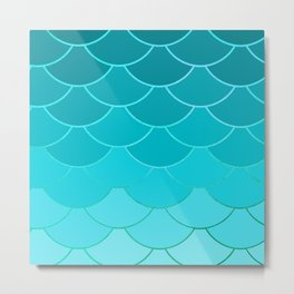 Sky Blue Scales Metal Print