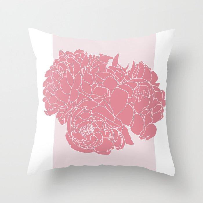 Floral Pinks Throw Pillow