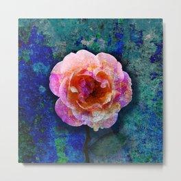 Textured Pink Rose Metal Print