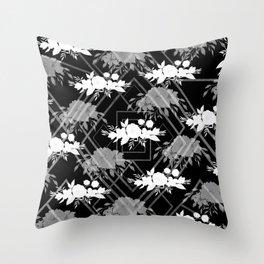 Geometrical modern black white floral pattern Throw Pillow