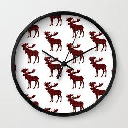 Buffalo Check Moose Wall Clock
