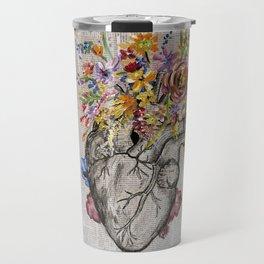Anatomical Heart & Flowers Travel Mug