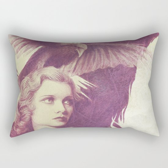 Purple vintage girl with raven Rectangular Pillow