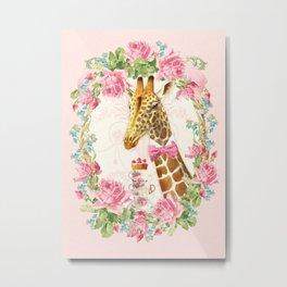 Giraffe high tea Metal Print