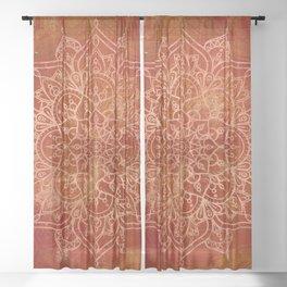 Orange Mandala Sheer Curtain