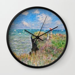 Claude Monet Cliff Walk At Pourville 1882 Wall Clock