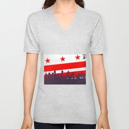 Washington DC Flag with Audience Unisex V-Neck