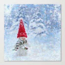 Red Cute Snowman frozen freeze Canvas Print