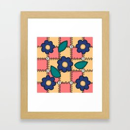 Retro Doodle Flower Style Quilt - Coral Yellow Dark Blue Framed Art Print