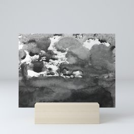 black white gray paint in monotype technique, abstract Mini Art Print