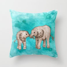 Baby Elephant Love - sepia on watercolor teal Throw Pillow