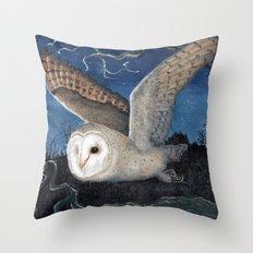 Barn Owl at Night Throw Pillow