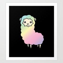 Rainbow llama Art Print