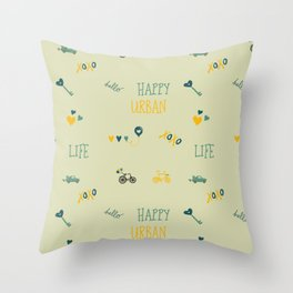 Happy urban life typography doodles hipster pattern Throw Pillow