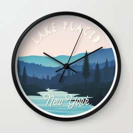 Lake Placid, New York Mountains Landscape Wall Clock