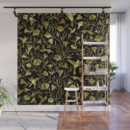 Black and gold foil humming birds & leafs pattern Wall Mural