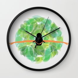 Dancing with nature- Conceptual graphic of a girl dancing with dress made from leaves Wall Clock