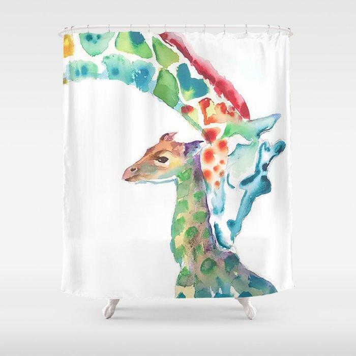Mummy And Baby Giraffe College Dorm Decor Shower Curtain