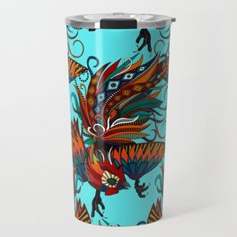 rooster ink turquoise Travel Mug