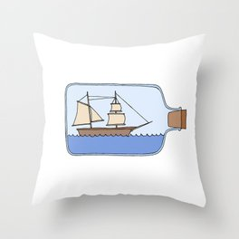 Ship in a Bottle Throw Pillow