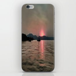 Sunset Shores In Pink And Grey iPhone Skin